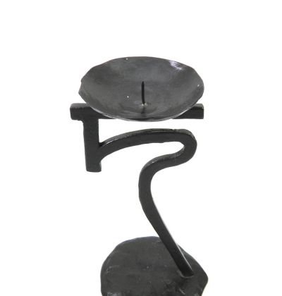 "Ancient Script Candlestick ""ky"", solid brass with natural oxidation"