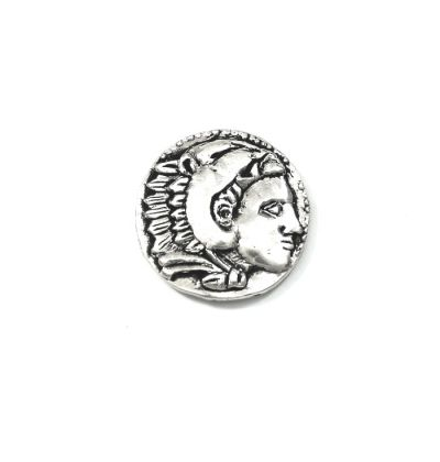 Silver Tetradrachm coin of Alexander III Macedon. Handmade solid brass silver-plated in a specially designed acrylic case to exhibit both sides of the coin..