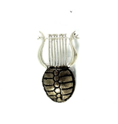 Appolo's Lyre, Brooch handmade of brass silver-plated with brown patina