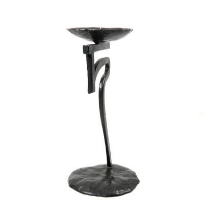 "Ancient Script Candlestick ""jo"", solid brass with black patina"