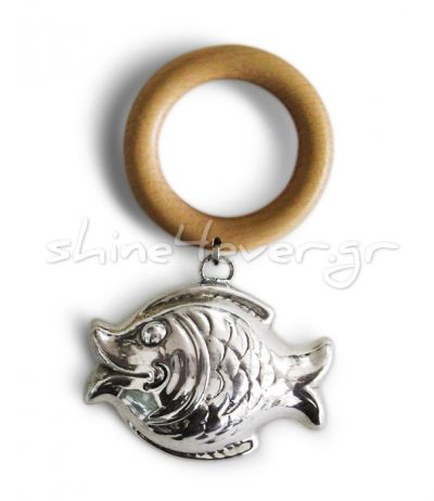 Fish, Rattle in silver 999° with a wooden ring.