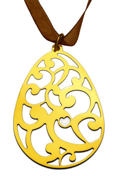 Egg with pairley, Pendant in gold-plated 24K brass.
