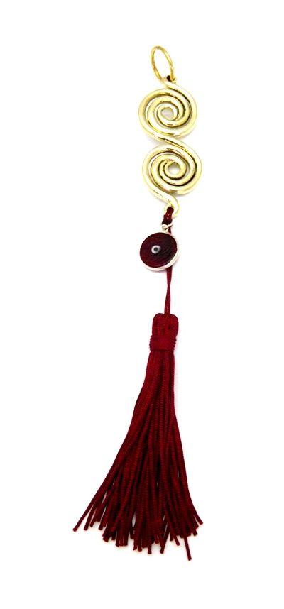 Spirals' Charm 2018, handmade shiny solid brass